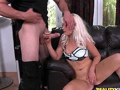 Ash blonde hoochie gives head and then rides hard dick on top