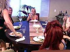 After drinking some wine, milfs start playing nasty to eachother's wet cherry in superb lesbian group show