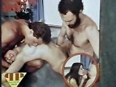 Watch this horny and kinky babe sucking those large cocks of two depraved and horny jekrs in the bethroom in The Classic Porn sex clips.