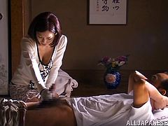 A slim Japanese girl gives a skillful handjob. Then horny Kaho lifts a skirt up and gets fucked hard in her soaking wet pussy.