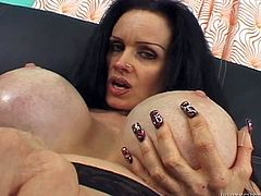 Vulgar black haired mommy shows off her dirty hairy snatch and her ugly fake tits. Busty milfie gives blowjob and gets her furry burger rubbed.