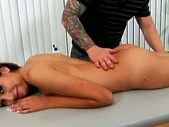 Chloe Starr is told that today she'll get a special treatment. Her tattooed masseur fondles her ass cheeks and fingers her pussy before he starts banging her.