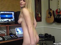 Allie James is an attractive blonde teenie and she is all alone in this music studio. She wastes no time and takes her clothes off to show her perfect body.