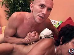 Ester hairy granny fucked by two young dicks.