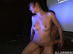 Horny Japanese tramp Aiko Sunakawa shows her twat to a guy and lets him rub it with a dildo. Then she bends over and gets her juicy pink slit pounded from behind.