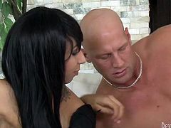 Black haired bodacious tranny in black fishnets rested doggy pose on floor near sofa. Her bald head stud set to bang her anus right away. Take a look at this nice TS copulation in Fame Digital porn clip!