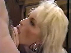 Sexy light haired chick gives a great blowjob in the kitchen