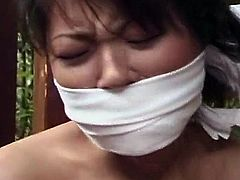 Look at that Sleaze Japanese bound video. A chick is bound  huge close to her Erotic kimono costume.