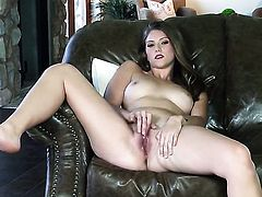 Shae Snow is horny as hell and fucks herself with her fingers with wild passion