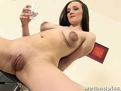 Check this brunette babe, with giant nipples and a shaved pussy, while she pisses herself, drinks it all and touches her body at the same time.