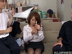 Sexy Japanese bitch is having fun with two dudes in an office. She strips and shows her body to the dudes and then moves her legs wide apart and gets her twat fingered to orgasm.