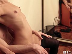 Kinky brunette bitch with perky tits is wearing nylon black stocking and high heel shoes while fucking in front of the camera. She bends over the chair getting hammered bad from behind. After steamy doggy fuck scene she gives deepthroat blowjob.