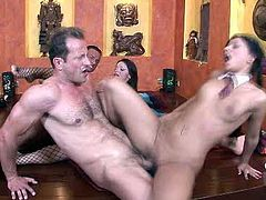 Voracious hooker with big fake tits Angel Pink gets her both fuck holes busy in hardcore double penetration fuck scene. Damn, this bitch is wacky.