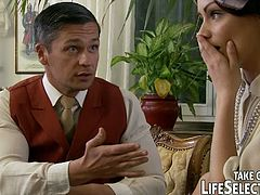 Life Selector brings you a hell of a free porn video where you can see how this nasty brunette maid gets her ass and cunt banged deep and hard into heaven by two dudes.