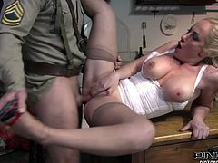 Fascinating light haired beauty with natural C cups looks sexy in her nylons and white body. Brutal soldier fucks her delicious cunt missionary style. Then lusty babe rides his dick on top and gives steamy blowjob.