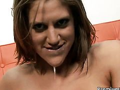 With giant hooters has fire in her eyes as she milks cum loaded man meat of her stud