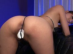 Insatiable black haired chick with big ass asked her stud to hammer her ever hungry kitty with a couple of sex toys. Take a look at that steamy fuck in Jav HD sex clip!