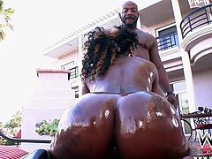 Black Diva Gogo burns with sexual desire and only a big black rod, can make her sexually satisfied. She oils her thighs and rubs that healthy pussy between them, before I step in and pour more oil on her body. She's all slippery now and sucks my dick like crazy, before I pound her oiled booty from behind!