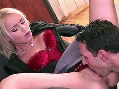 Kathia Nobili is a smoking hot secretary sucking on her boss' big fat cock before he fucked her silly on the office floor.