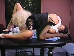 Attractive chick gets her dripping pussy fucked hard doggystyle outdoors meanwhile horny light haired slut gets a cunnilingus and sucks the dick at the same time on the table. Have a look at these bitches in The Classic Porn sex clip.