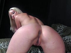 Get a hard dick watching this blonde babe, with a nice ass wearing a white bra, while she uses her mouth smartly on a dude's pole.