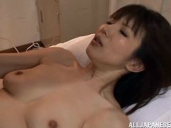 A beautiful Japanese babe sucks on a hard cock and then takes it balls deep into her fuckin' nasty ass gash. Check it out!