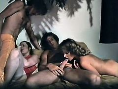 Group missionary sex with this two bitches on the bed