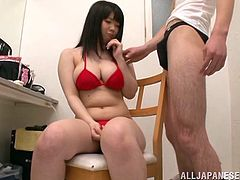 Noa is a curvy Japanese girl in red lingerie. A guy massages her big boobs and then gets his dick sucked. Noa also gives a titjob expertly.