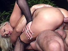 Golden angel sells her cramped pussy and warm mouth for two guys to enjoy rough threesome session