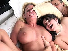 Get a boner by watching these sexy cougars, with big knockers and shaved pussies, while they go hardcore with a pair of horny fellows.