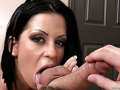 Larissa Dee is on the edge of nirvana with cock juice on her face