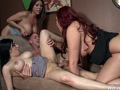 Press play on this amazing hardcore scene where these busty moms share this guy's thick cock in a hardcore foursome I don't think you want to miss out on.