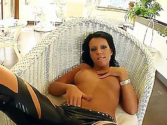 Attractive black haired stripper Chloe with dark heavy make up and smoking hot firm bums in high heels takes off arousing leather outfit and pleasures turned on client in pov.
