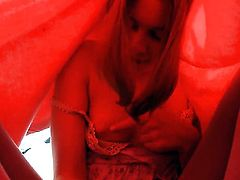 Vika strips and plays with her love box