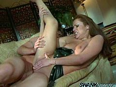 Gorgeous Nikita strokes his massive cock as she gives it an awesome blowjob before he slides it in her wet pussy thrusting deeper as they have hardcore sex.