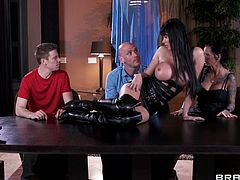 Take a look at this hardcore scene where the sexy Eva Karera ends up with her face covered by semen after being fucked silly.
