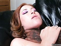 Redhead Ginger Blaze with massive hooters takes toy so deep in her bush