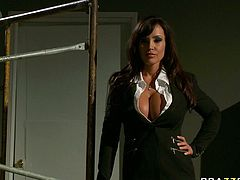 Hot like fire brunette sweetie with huge boobs and her insatiable light haired kooky attacked staff sausage of one brutal stud and sucked it hard. Have a look at that steamy threesome in Brazzers Network porn video!
