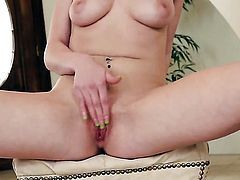 Allie James is on the way to the height of pleasure in solo action