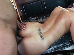Attractive and hot dark haired bitch with ice body gets her dripping pussy fucked hard riding the cock in cowgirl pose and doggystyle. Have a look at this bitch in Fame Digital sex video.