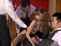 If you are a fan of sexy exotic mums, don't miss this kinky video! Three men take off their ties to enjoy exploring a Japanese milf's lovely body. The black fishnet stockings she's wearing are a huge turn-on. Her tits are an open invitation to pinch nipples and squeeze boobs. Watch a guy evaluating her pussy.