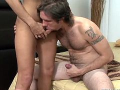 Watch this torrid and zealous lady boy with big cock gets her tight asshole brutally banged doggy style by a well hung stud.