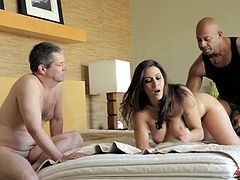 Check this brunette cougar, with a nice ass and gigantic breasts, while she goes hardcore with an enormous dark meat stick and moans like a kinky MILF.