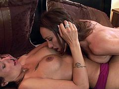 Sweet kisses and soft pussy stimulation for two horny angels in need for high class lesbian pleasures