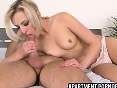 Cute blond fucked by apartment owner