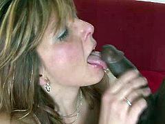 Full bodied mom with appetizing natural boobs is wearing nylon stockings and high heel shoes in steamy interracial porn clip. She gives deepthroat blowjob before getting nailed bad in a missionary position.