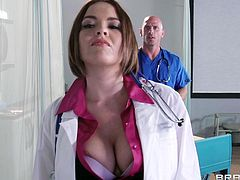 Have a look at this hardcore scene where the sexy doctor Krissy Lynn is fucked by one of her fellow peers in the middle of the hospital.