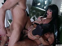 Get a load of this amazing hardcore scene where the busty brunette Joslyn James is fucked silly by two guys in a threesome that leaves her out of breath.