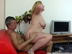 Check out this hot scene where this busty blonde teen sucks on this old guy's hard cock before being nailed as her moans make your dick hard.
