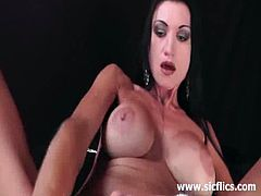 Hot amateur bitch really loves these crazy fetishes with huge silicone tits takes a huge brutal fisting and toying her wide gapehole with huge black dildo.
